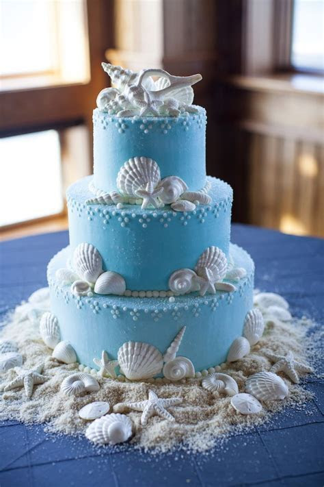 A coastal cake perfect for a wedding on the beautiful