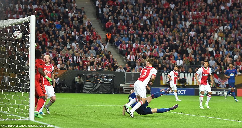 Ajax players  look on as they concede a second goal immediately following the second-half restart through Mkhitaryan