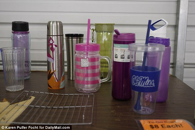 Regular household goods, including a variety of travel mugs, were included in the items for sale