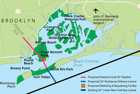 The route of the proposed Rockaway pipeline project.