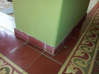 Cement Tile Installation with Base Trim Molding