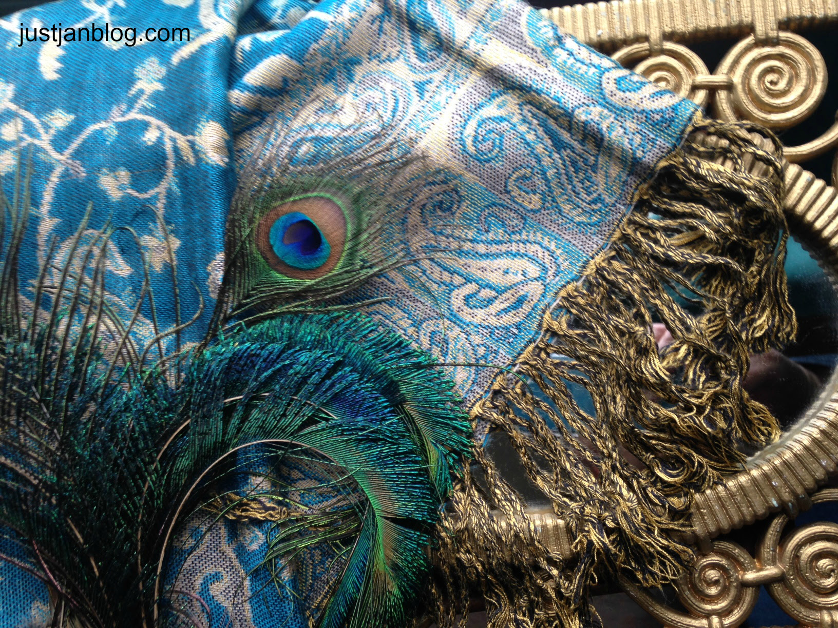 turquoise shawl with peacock feathers