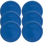 Pyrex 7401-PC Lake Blue 3 Cup, 750mL Round Plastic Replacement Lid - 6 Pack   Helton Tool & Home