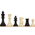"""Weighted Standard Club Plastic Chess Set Black & Ivory Pieces - 3.75"""" King"""