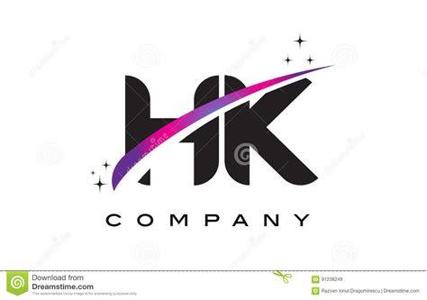 hk   black letter logo design  purple magenta swoosh
