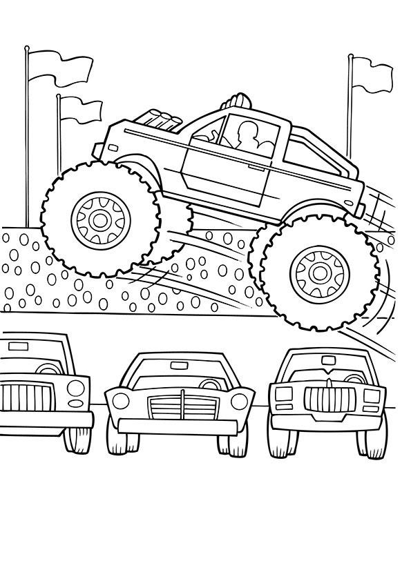 monster truck malvorlagen gratis - kinder zeichnen und