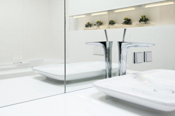 bathroom reflective white surfaces with decorative niche and plants landscape
