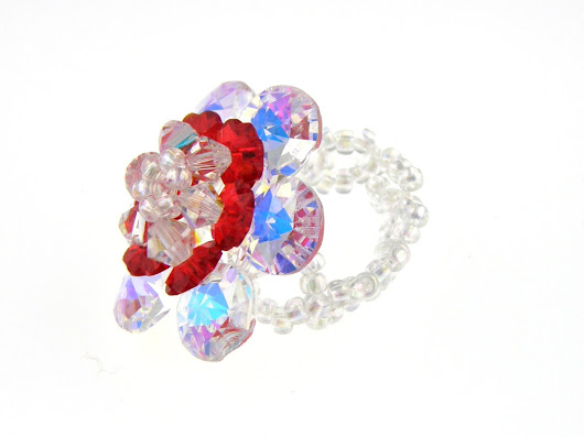 Siam Red and Crystal AB swarovski Ring