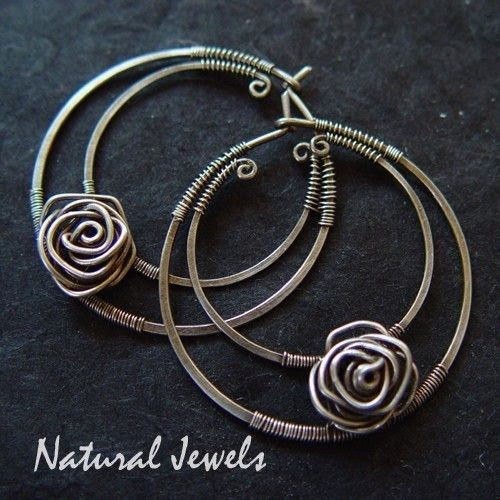 Sterling Silver Hoops Silver Roses