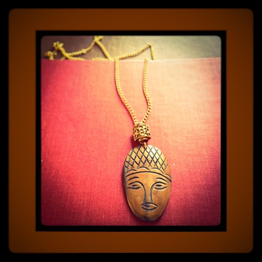 🐍SALE Palm Wood Tribal Mask Gold Chain Necklace🐍