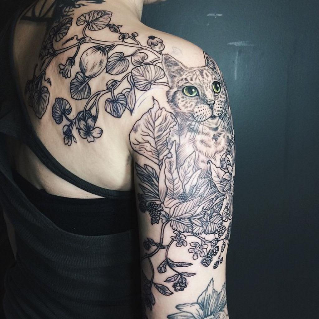 Tatuagens inspiradas na natureza combinam gravuras de estilo vintage de fauna e flora 12