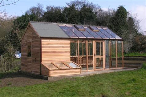 shed combo greenhouses built  western red cedar shingle