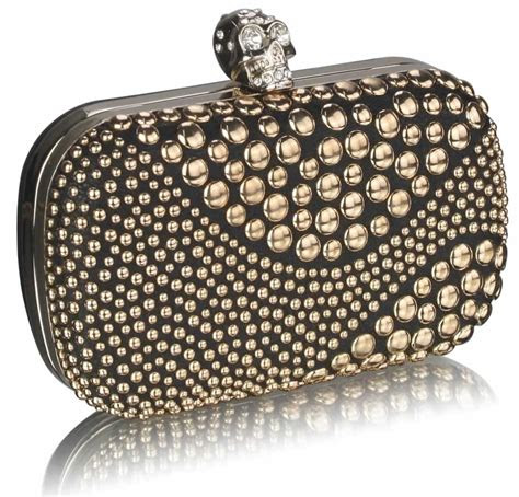 wholesale black gold studded box clutch bag