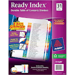 Avery Customizable Table of Contents Dividers, Ready Index Printable Section Titles, Preprinted 1-31 Multicolor Tabs, 1 Set (11129)