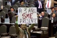 José Luis Muñoz Soria, diputado del PRD, muestra una cartulina en apoyo al SME. Foto: Benjamin Flores
