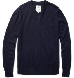 Aubin & Wills Cotton And Cashmere-blend V-neck Sweater