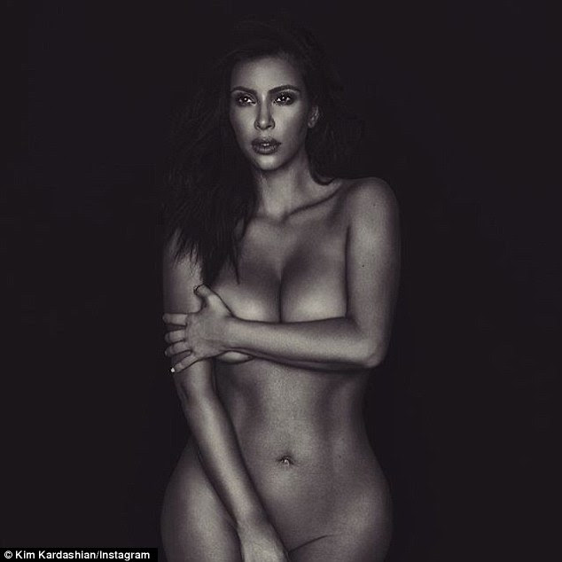 Love of his life: The besotted rapper reposted Kim's naked snap with the simple caption, 'muse'