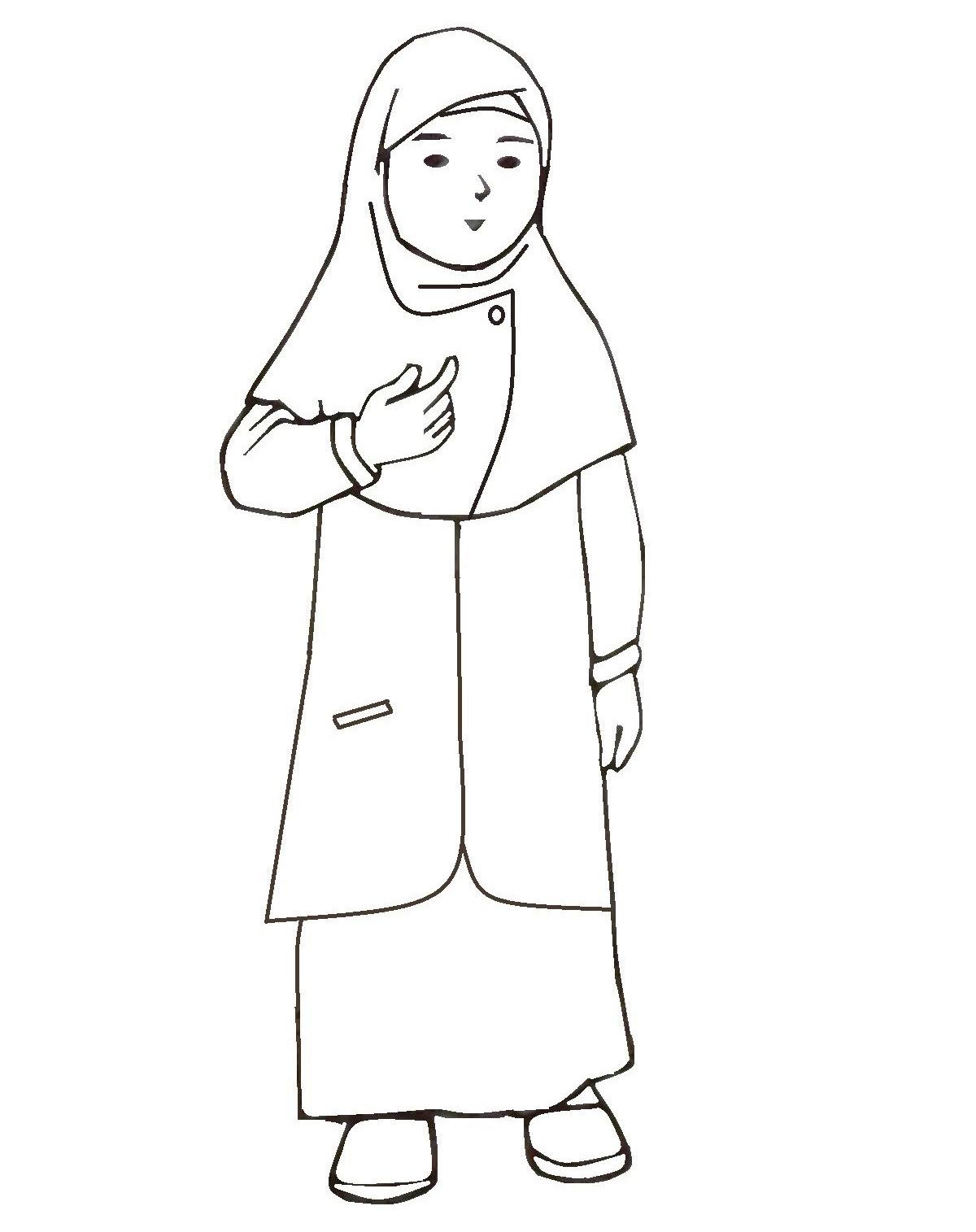Gambar Kartun Muslimah Untuk Mewarnai Kolek Gambar