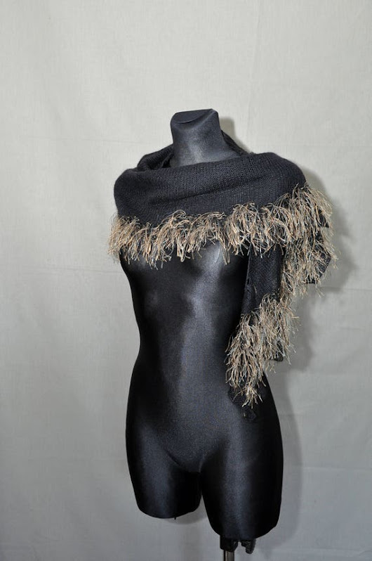 Black Hand Knitted Shawl with Tassels Boho Style Shawl 80s