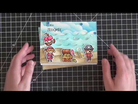 Video Tutorial - Creating a Fun Pirate Scenen with Lawn Fawn Stamps and Distress Inks