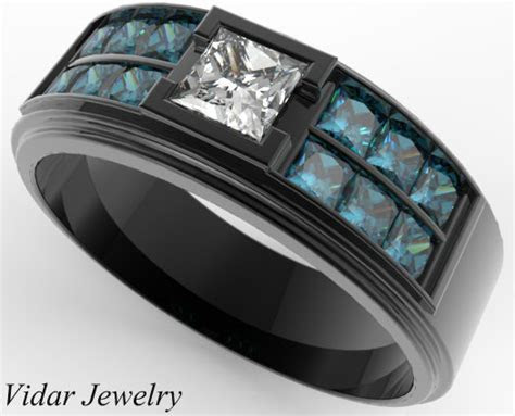 Men's Black Gold Blue Diamonds Wedding Band   Vidar