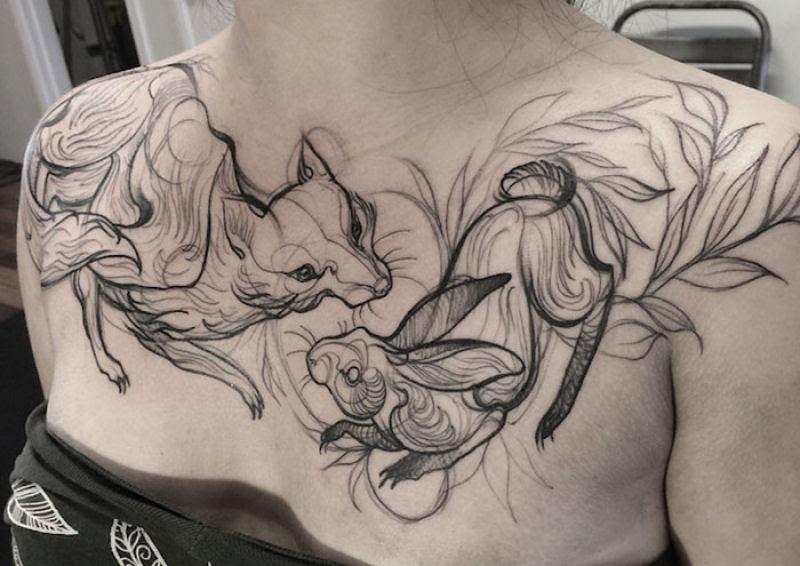 As tatuagens que parecem esboços de desenhos a lápis, por Nomi Chi 02