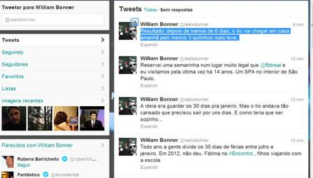 William Bonner fala das férias no Twitter