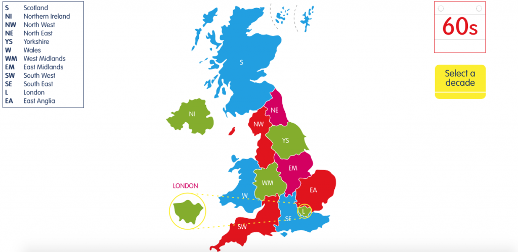 interactive map to explore changes in the UK over the decades