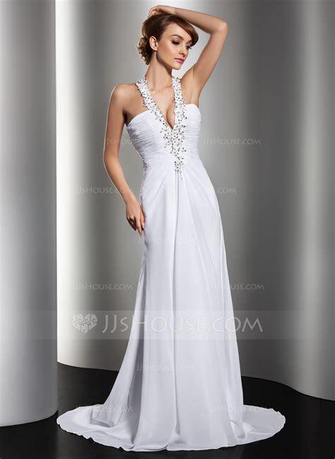A Line/Princess Halter Sweep Train Chiffon Wedding Dress