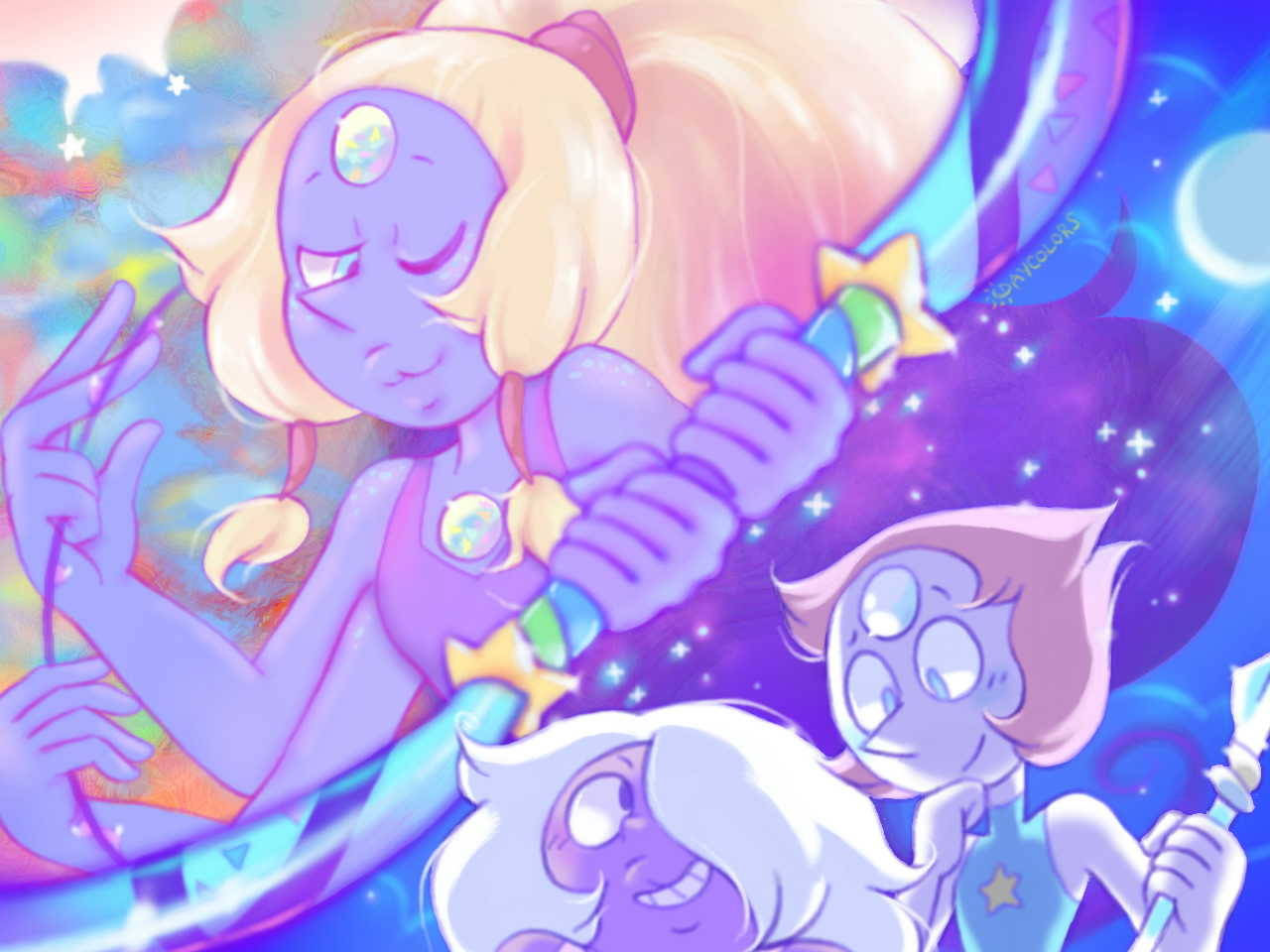 I've been getting next to no sleep lately and I've noticed my art gets a little colorful at night, sorry for the color explosion but to @spo97 never doubt, Opal shall return someday! :D