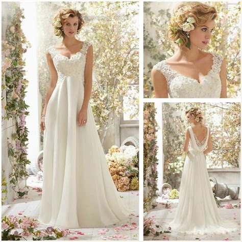white ivory chiffon long wedding dress bridal gown