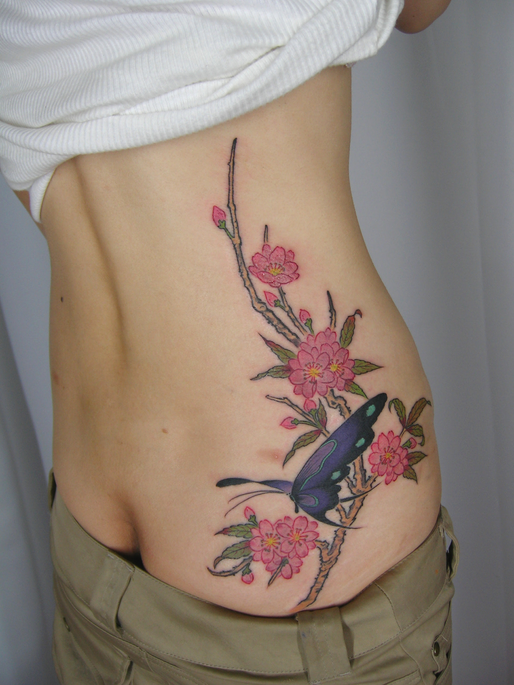 Cherry Blossom Butterfly By Gakkinkyoto Tattoo Picture