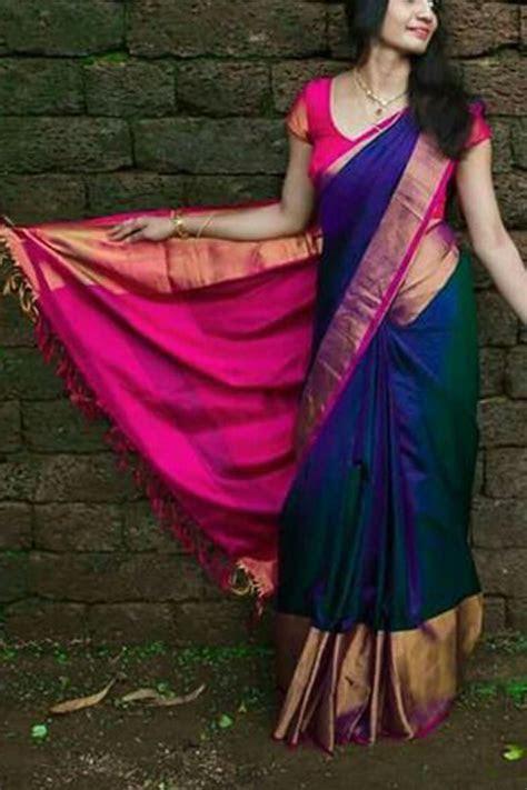 Designer Blue Colored Soft Silk Saree   CD101