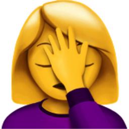 Woman Facepalming Emoji (U+1F926, U+200D, U+2640, U+FE0F)