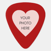 Custom Photo Heart (Red and Black) Pick