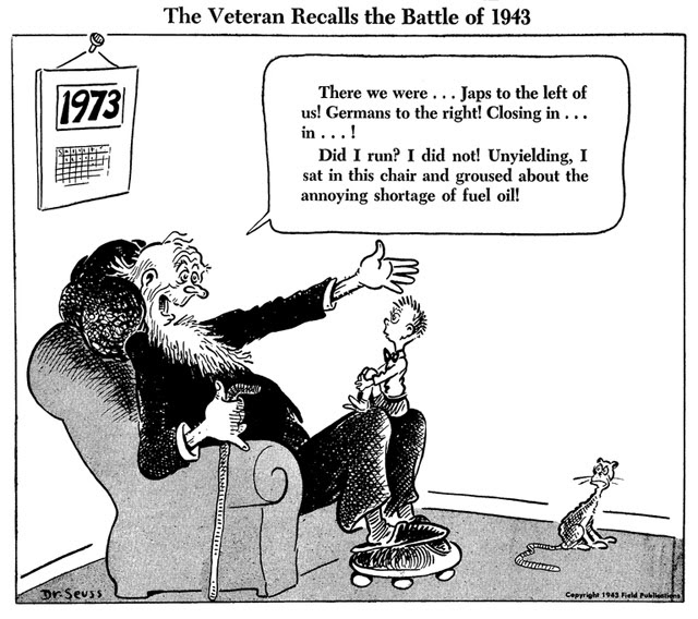 "Theodor Seuss Geisel, ""The veteran recalls the battle of 1943"""