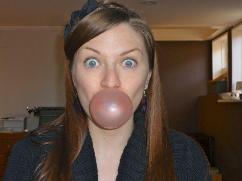 Bubblicious bubble gum bubble blowing