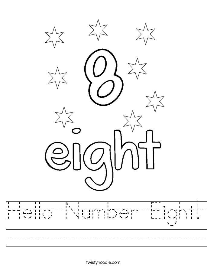 Hello Number Eight Worksheet - Twisty Noodle