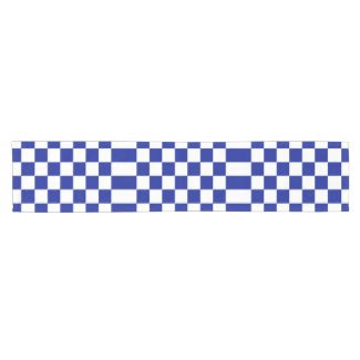 Royal Blue and White Checkered Pattern Short Table Runner