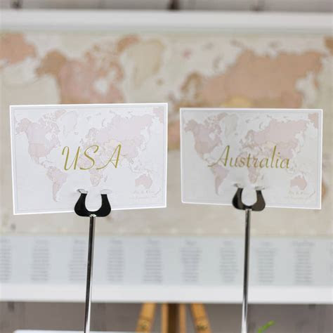 antique world countries wedding table name cards by maps
