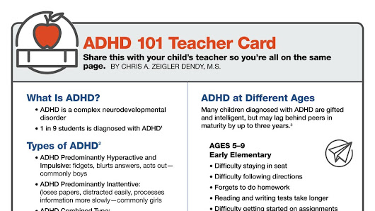 ADHD 101 for Teachers: Free Resource Card