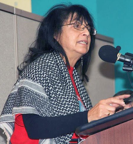 Latin American solidarity organizer and editor of Mundo Obrero, Berta Joubert-Ceci. She was delivering an address at a national conference in New York City in November 2012. by Pan-African News Wire File Photos