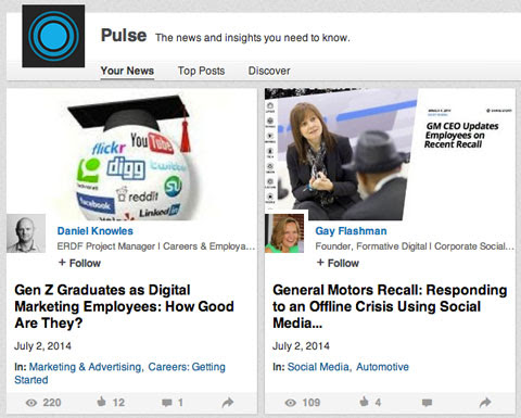 publisher posts on pulse