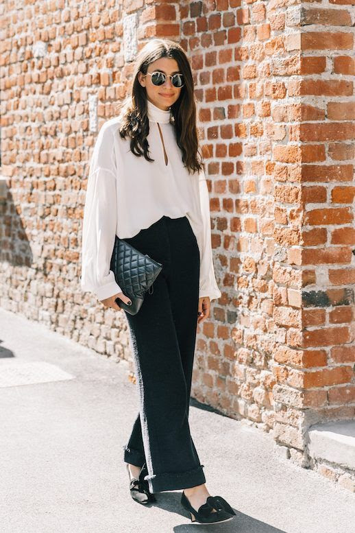 Le Fashion Blog MFW Workwear Sunglasses White Blouse Cuffed Trousers Bow Suede Heels Via Collage Vintage Office Outfit Idea