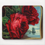 Vintage Roses and Sail Boat mousepad