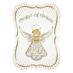 Personalize: Christmas Angel of Grace Gold Bracket 5x7 Paper Invitation Card