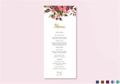 Burgundy Floral Wedding Menu Card Design Templates in Word
