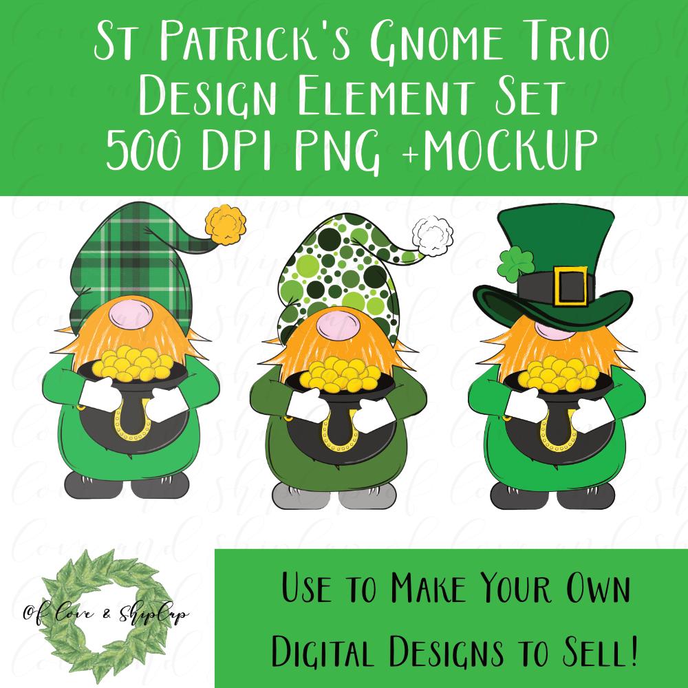 Download St Patrick's Day Gnome Trio Clipart Set - DIGITAL ELEMENT ...