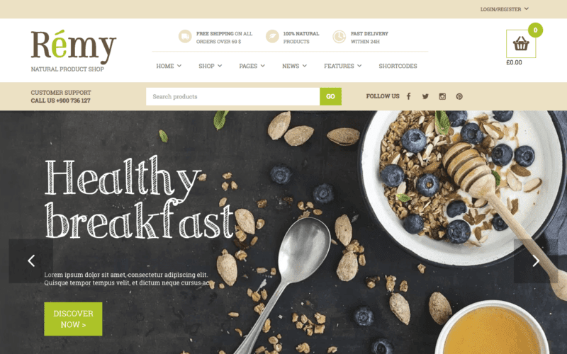 Remy food ecommerce theme