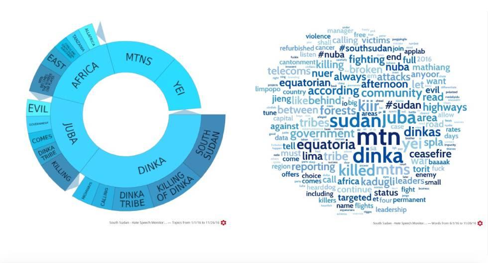 Visualizaciones elaboradas por PeaceTech Lab que muestra palabras usadas de forma recurrente que incitan a la violencia.